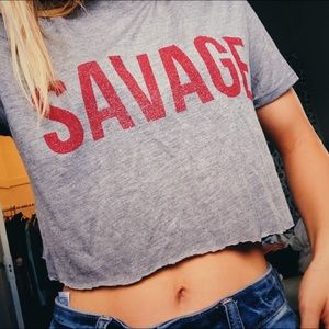 GRAY CROPPED 'SAVAGE' TOP🌸